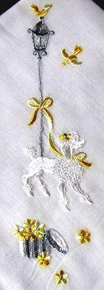 vintage handmade poodle embroidered hanky