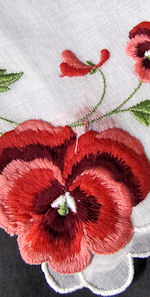 vintage red pansy embroidered hanky