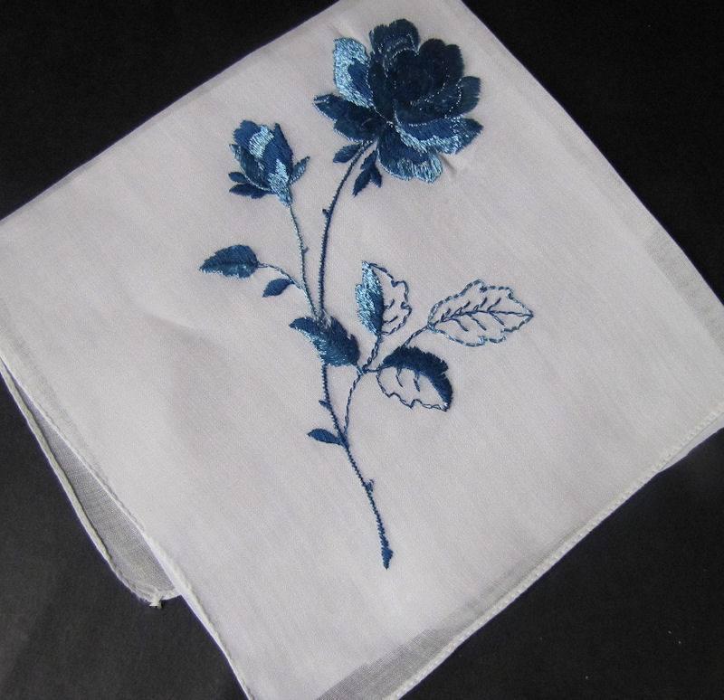 vintage antique embroidered hanky blue rose