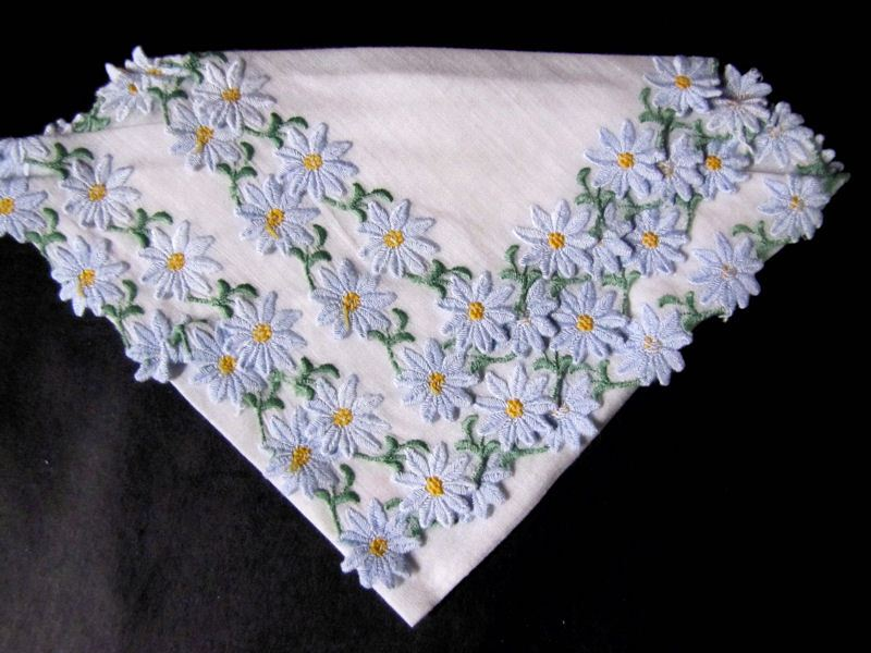 vintage antique embroidered blue daisies  hanky