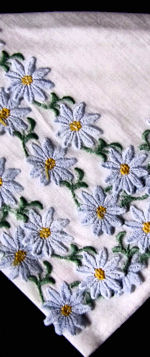 vintage hanky embroidered blue daisies