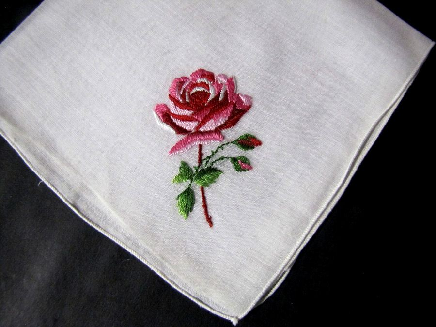 vintage antique embroidered hanky rose