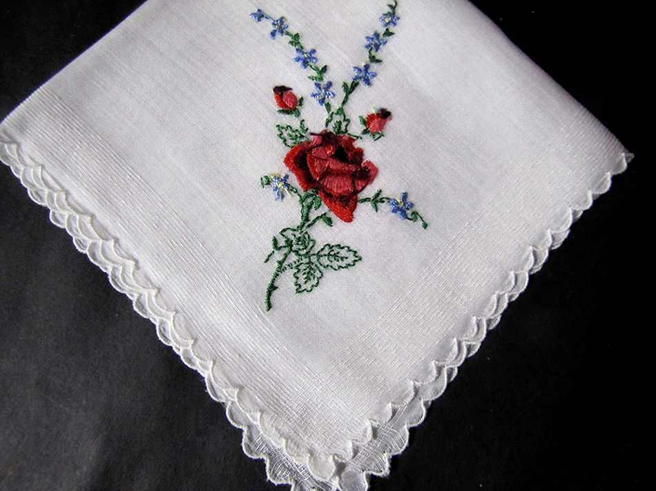 vintage antique embroidered hanky with red rose