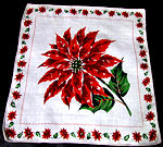 vintage Christmas single blossom poinsetta hanky