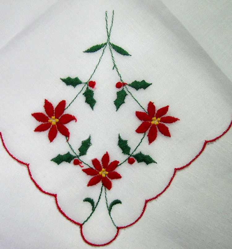vintage antique christmas embroidered poinsettas hanky