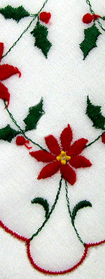 vintage christmas poinsetta hanky