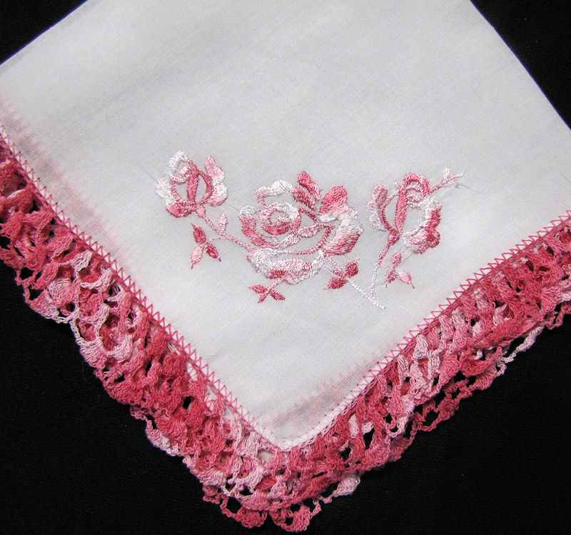 vintage antique embroidered roses hanky handmade lace