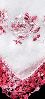 vintage  roses hanky handmade lace