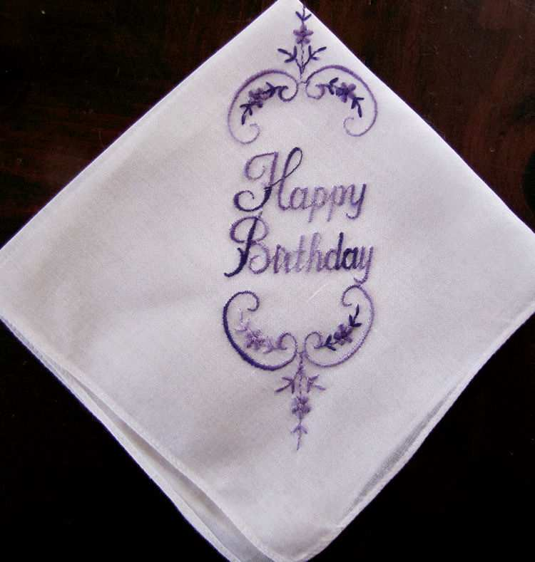 vintage antique embroidered Happy Birthday hanky