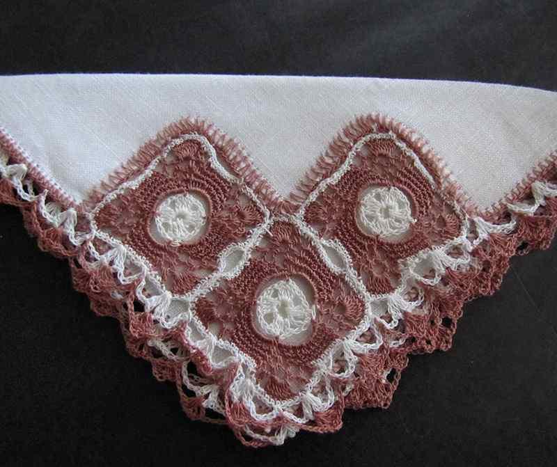vintage antique irish linen hanky two-tone handmade lace