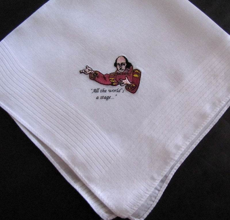 vintage antique embroidered Shakespeare hanky