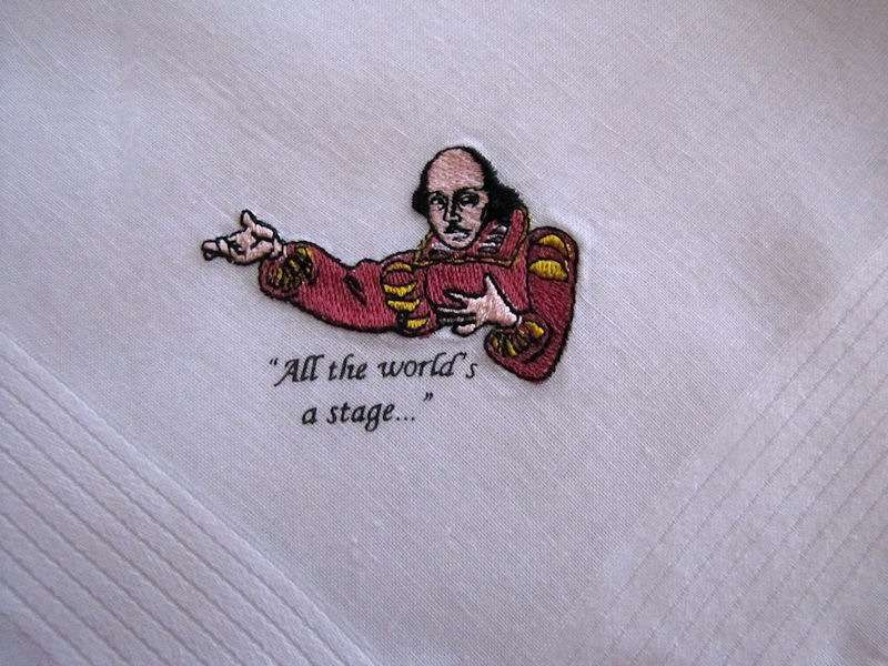 close up vintage antique embroidered Shakespeare hanky