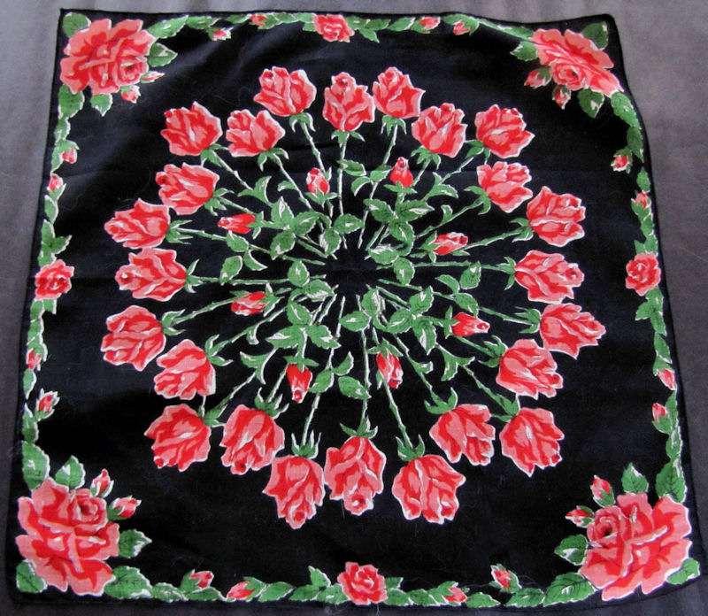 vintage black roses floral print hanky