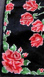 vintage floral print hanky black with roses