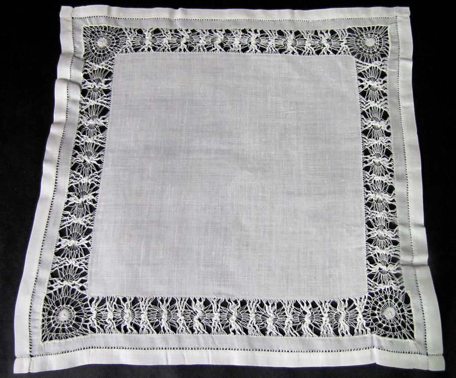 vintage antique handmade lace whitework hanky