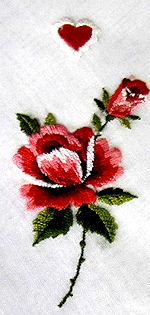 vintage valentine hanky rose and heart