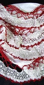 vintage valentine hanky irish linen handmade lace
