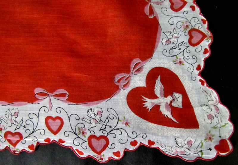 cclose up vintage antique valentine hanky