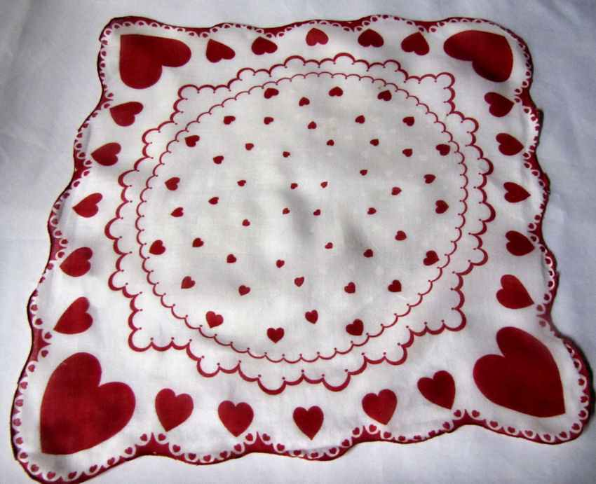 vintage antique valentine hanky red hearts