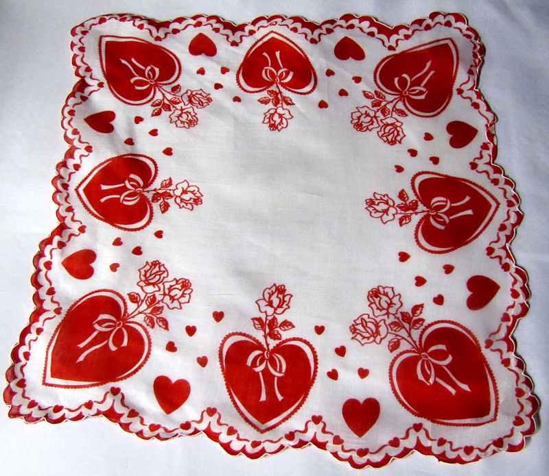 vintage antique valentine hanky hearts print