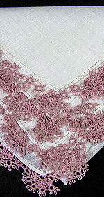 vintage antique Irish linen hanky handmade tatted lace