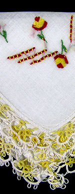 vintage antique irish linen hanky handmade tatted lace embroidery