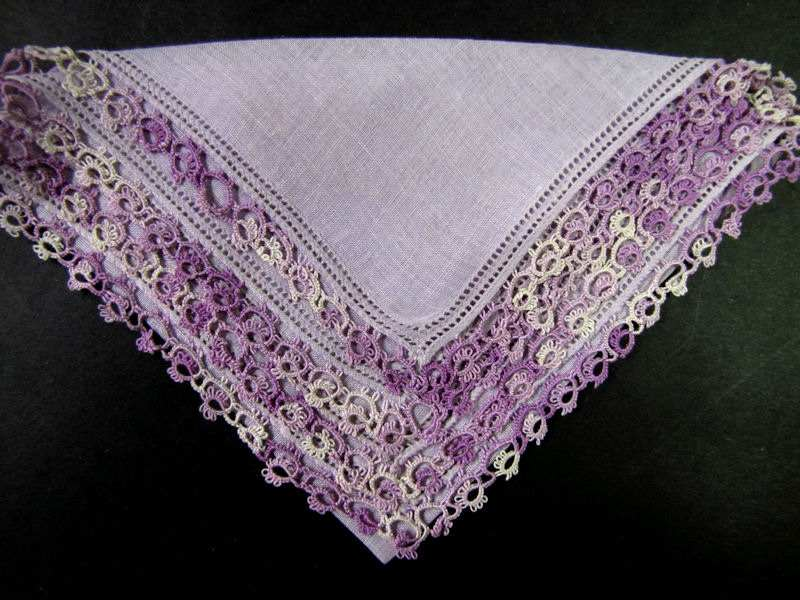 vintage antique lavender irish linen hanky with handmade tatted lace