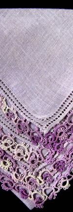 vintage antique lavender irish linen hanky handmade tatted lace