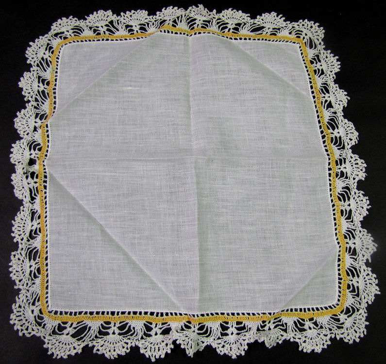 vintage antique irish linen hanky with handmade crochet lace