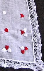 vintage valentine hanky printed scattered hearts