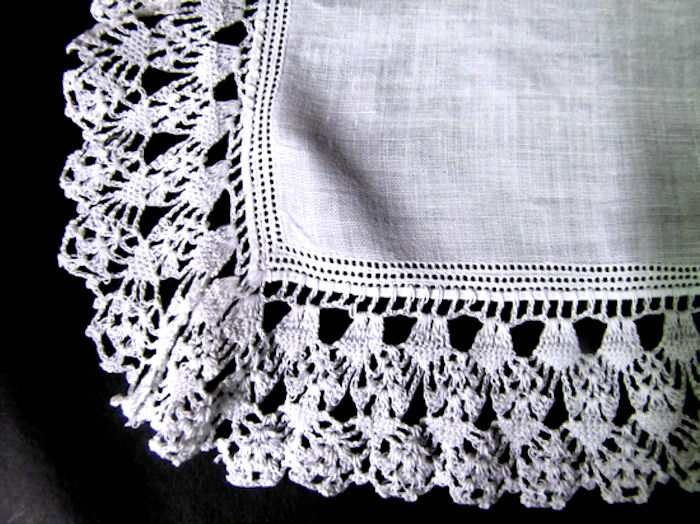 close up vintage antique wedding brides hanky handmade lace