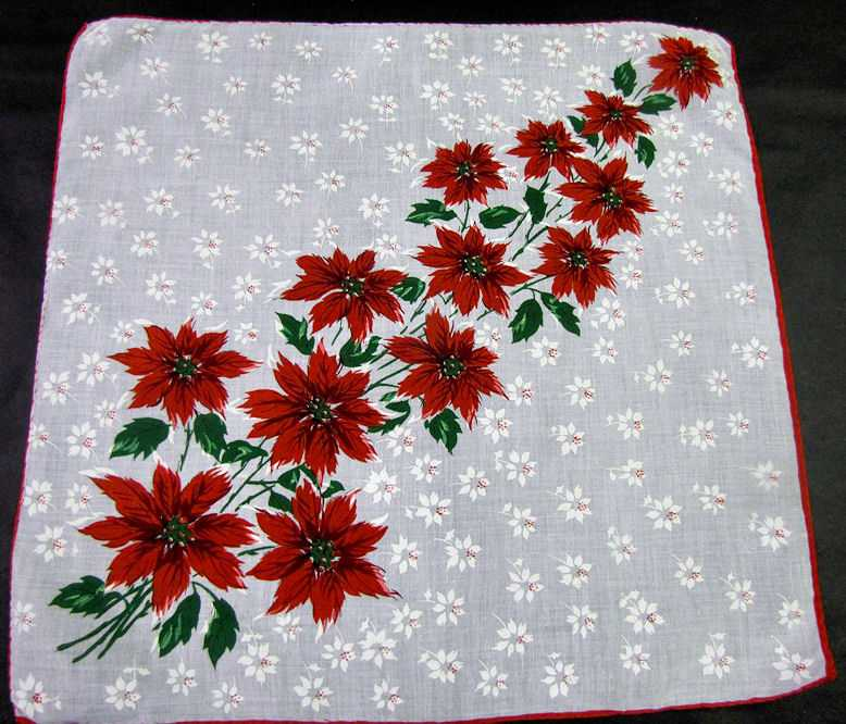 vintage antique christmas poinsettas hanky