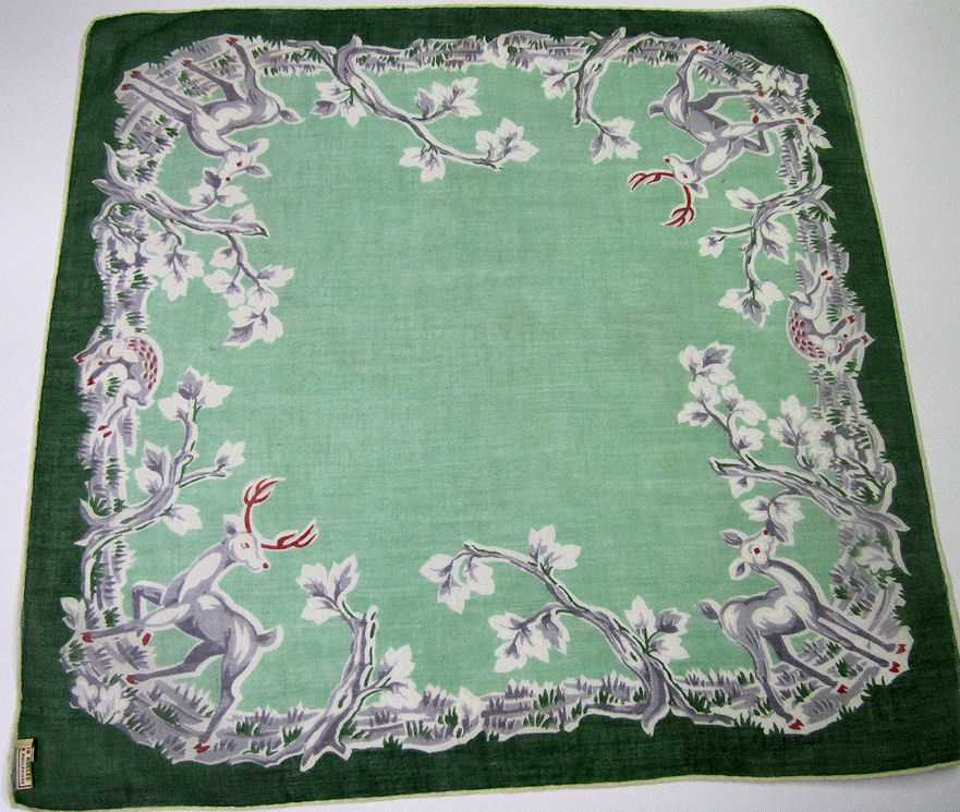 vintage antique christmas reindeer hanky