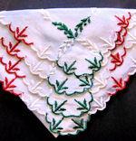 vintage Christmas embroidered hanky