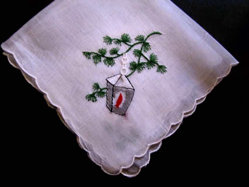 vintage antique christmas lantern hanky