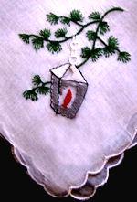 vintage christmas hanky embroidered lantern