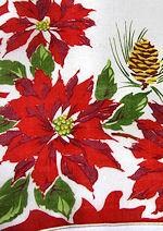 vintage poinsetta  pine cones Christmas hanky