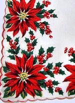 vintage Poinsettas Christmas hanky