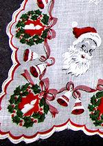 vintage Christmas santa hanky