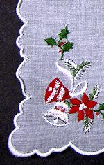 vintage Christmas silver bells hanky