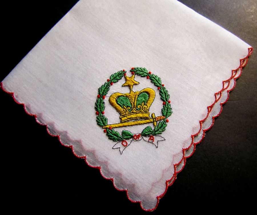 vintage antique embroidered Mason's Amaranth hanky