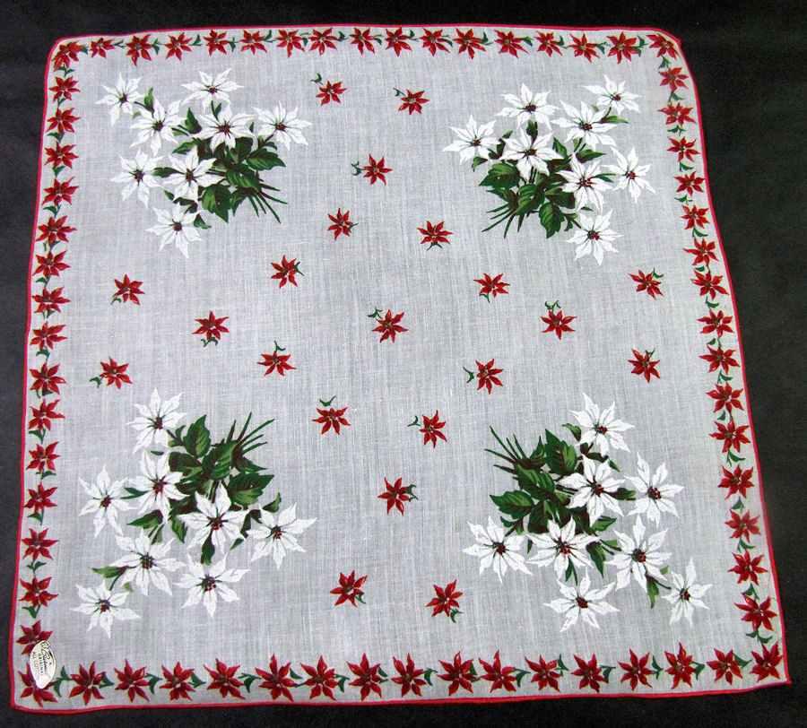 vintage antique christmas white poinsettas hanky