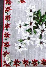 vintage christmas white poinsettas print hanky