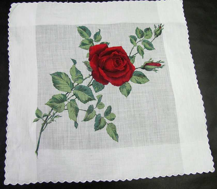 vintage floral print hanky single rose
