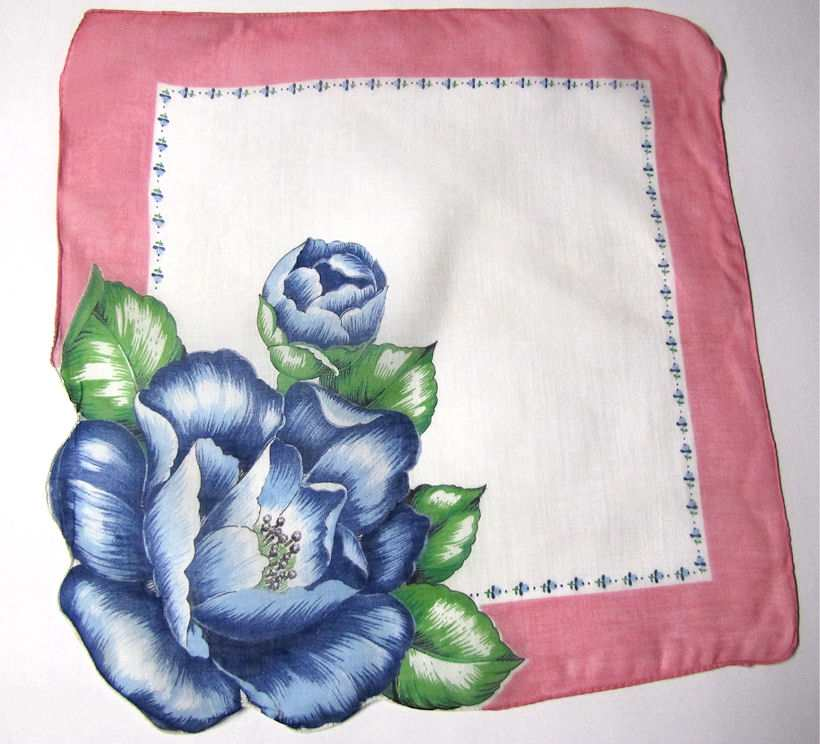 vintage blue floral print hanky