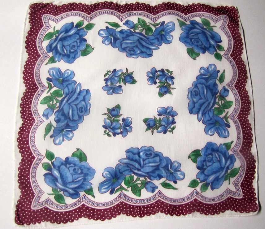 vintage blue roses floral print hanky