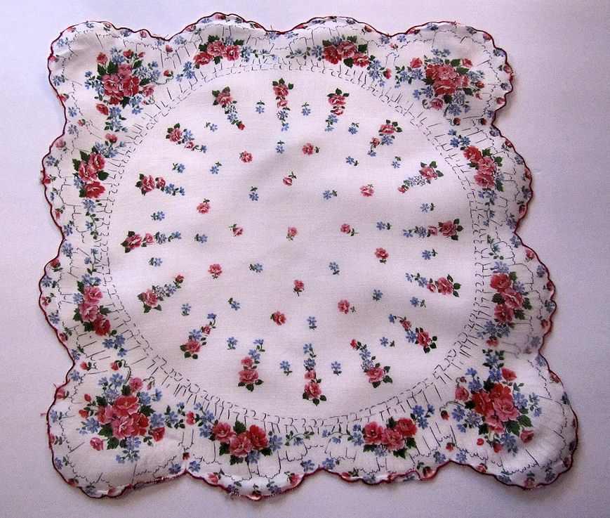 vintage floral print wild roses hanky