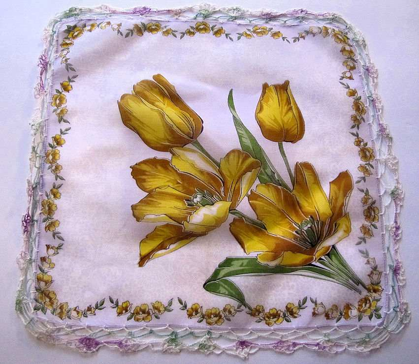 vintage floral print yellow tulips hanky