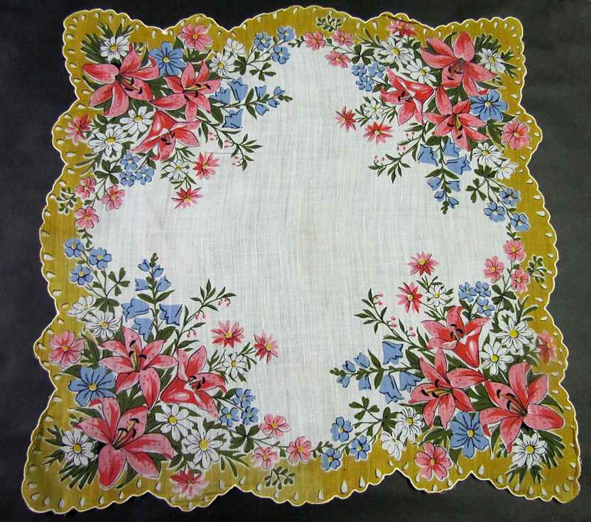 vintage floral print daisies hanky