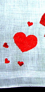 vintage valentine hanky falling hearts